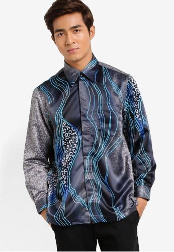 Gene Martino blue and multi Long Sleeve Batik Shirt GE222AA05HCOMY_1