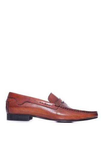 Zeve Shoes brown Zeve Shoes Penny Moccasins - Cognac Tan Handsewn Leather 877E4SH164AC04GS_1