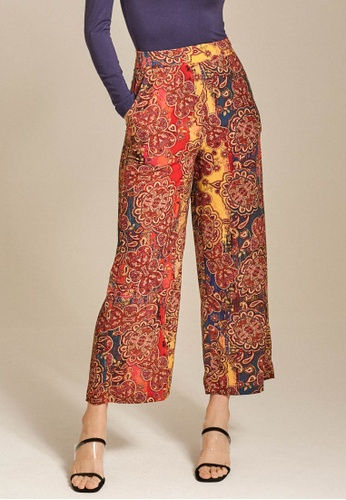 Dressing Paula red High-Rise Printed Crepe Pants 4451FAABA0D09AGS_1
