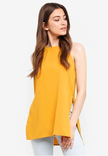 Something Borrowed yellow Cut-In Slit Tunic Top B4E52AAA974C35GS_1