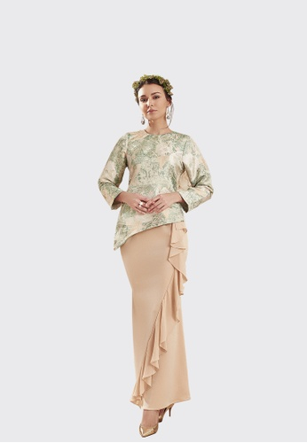 Lanna Modern Kurung from Nadjwazo by LadyQomash in white and green and gold_1