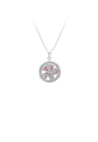 Glamorousky silver 925 Sterling Silver Windmill Pendant with Rose Red Cubic Zircon and Necklace CE275ACF198DCDGS_1