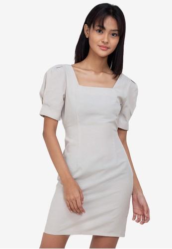 ZALORA BASICS beige Square Neck Puff Sleeve Mini Dress 2DCD9AA36C0588GS_1