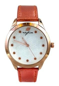 Nafisa Women's Fashion Dial Rose Gold Case Pink Leather Strap Wrist Watch