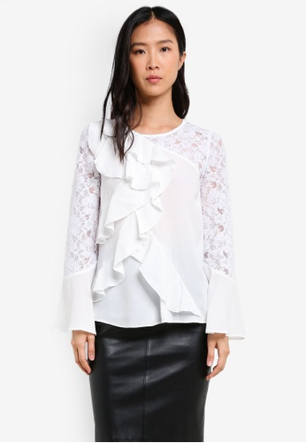 River Island white Long Sleeve Frill Lace Top RI009AA0SCTVMY_1
