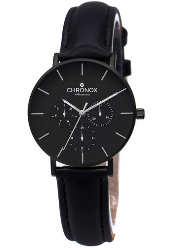 CHRONOX black CHRONOX CX1006/A1 Full Black - Jam Tangan Wanita Casual - Genuine Leather Strap F6C63AC52676D0GS_1