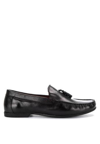 Topman black Black Leather Blast Tassel Loafers 04232SH9839F6EGS_1