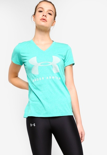 Under Armour green Threadborne Train Graphic Twist Top F0267AA379693CGS_1