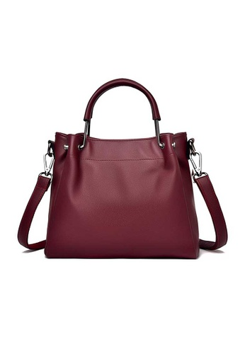 Lara red Women's Elegant Plain Leather Zipper Handbag Shoulder Bag - Wine Red D8B9EACE0190F6GS_1