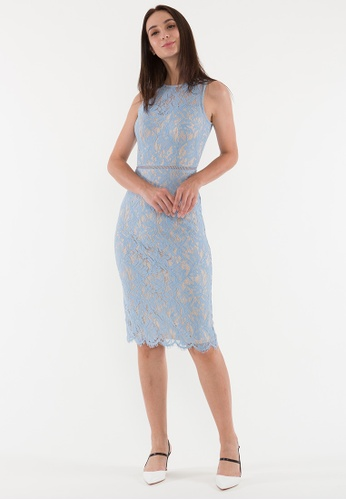 Plain B. blue Plain B. Round Neck Sleeveless Evening Midi Dinner Dress With Lace&Lining 76A18AA89BA31CGS_1