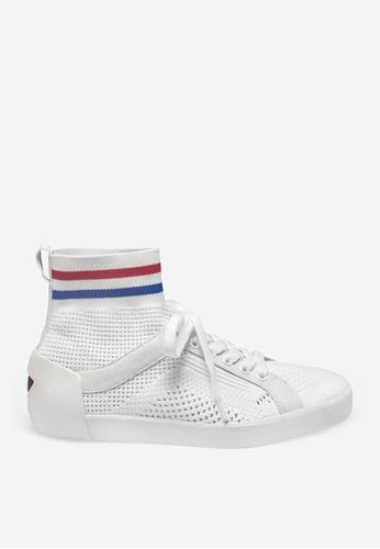 ASH 白色 Ninja - 米灰色網孔編織運動鞋 B2E63SHFDE01D7GS_1