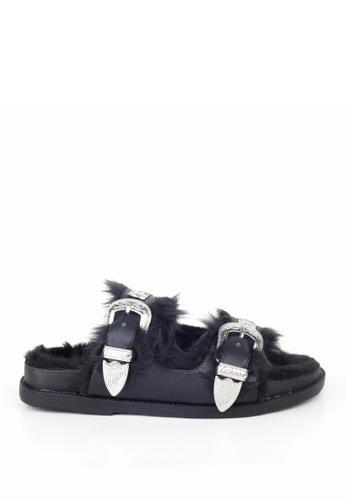 London Rag 黑色 London Rag女士夏季黑色带扣带毛拖凉鞋SH1330 LO507SH0A5G9TW_1