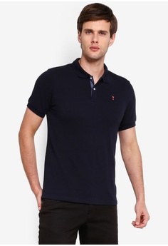 bf0356e9 Guess blue Embroidered Guess Question Mark Short Sleeve Polo Shirt  32762AAE130A9DGS_1