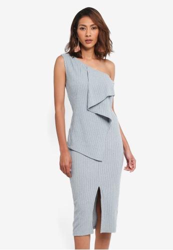 Lavish Alice blue One Shoulder Draped Asymmetric Knit Dress LA457AA0SSQ3MY_1
