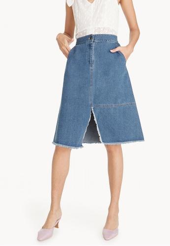 Pomelo blue Mini Front Slit Denim Skirt 30072AA1F50B81GS_1