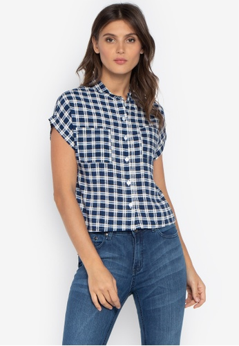 e9cb3bcd Folded & Hung blue Short Sleeves Plaid Cropped Button Down Top  FE371AAD1B5243GS_1