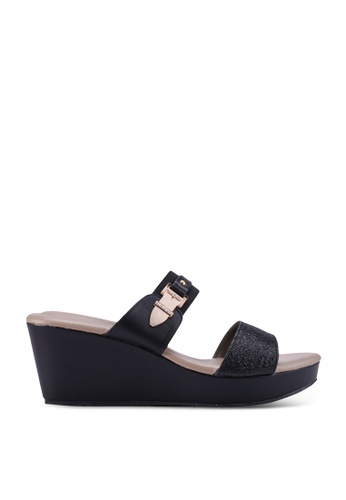 SPiFFY black Strappy Wedge Sandals 0D3DCSHE5AC4FFGS_1