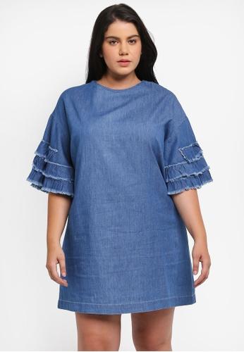 ELVI blue Plus Size Frill Detail Dress EL779AA0T1P4MY_1
