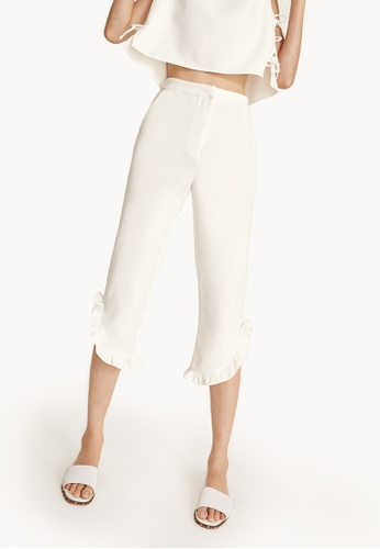 Pomelo white Cropped Frill Trim Pants - White CC0FEAA1BEDA14GS_1