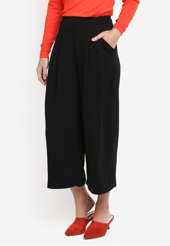 WAREHOUSE black Soft Pleated Culottes 9CC8EAA4D91318GS_1