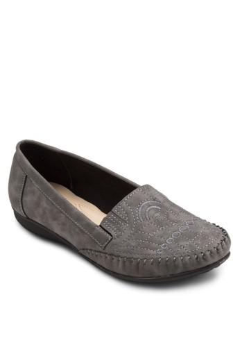 Moccasin 刺繡鞋面平底鞋, 女鞋,esprit童裝門市 鞋