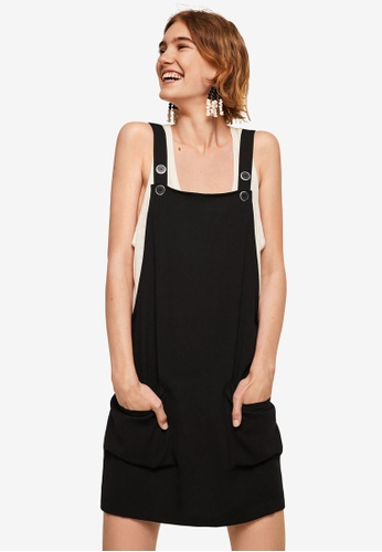 Mango black Pockets Pinafore Dress 89687AA79C028CGS_1
