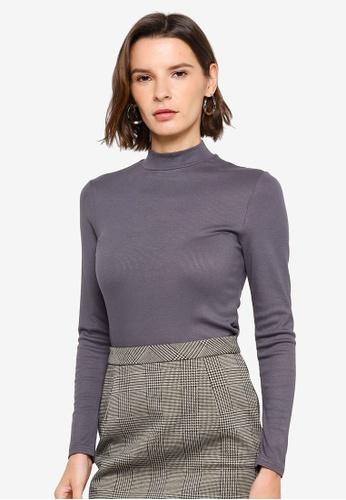 H&M grey Stand-Up Collar Top C7BDBAA53021F1GS_1