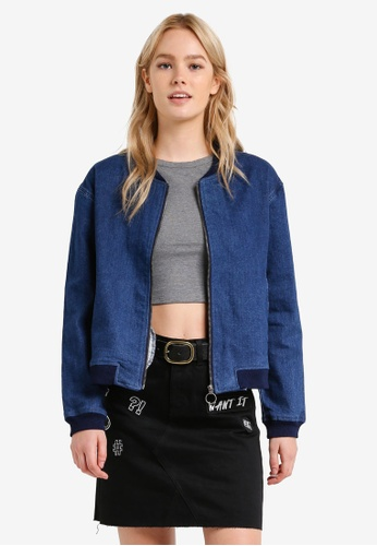 Something Borrowed blue Zipper Detail Denim Bomber Jacket BAC1EZZ2CB9AAEGS_1
