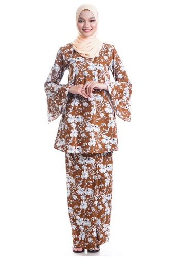 Ashura multi and brown Zuzanny Kurung Cotton With Pleated Bell Sleeves 0DF25AA84CF270GS_1