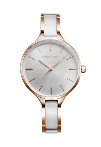 Aries Gold white Aries Gold Enchant L 5036Z Rose Gold and White Watch 46B79ACD86DE2FGS_1