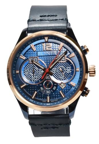 BONIA blue Bonia - Jam Tangan Pria - Rosegold - Blue Leather Strap - BNB10393-1582C BO710AC0VFA6ID_1