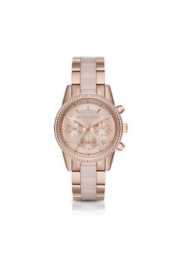 Ritz春漾玫瑰鑽飾腕錶 MK6307esprit 童裝, 錶類, 時尚型