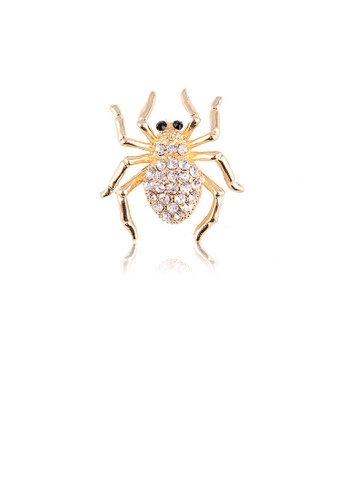 Glamorousky white Simple Personality Plated Gold Spider Brooch with Cubic Zirconia 66ED1AC02EFA64GS_1