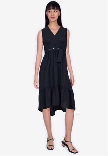 ZALORA BASICS black Plunge Neck Tiered Dress 3B947AA4E15569GS_1