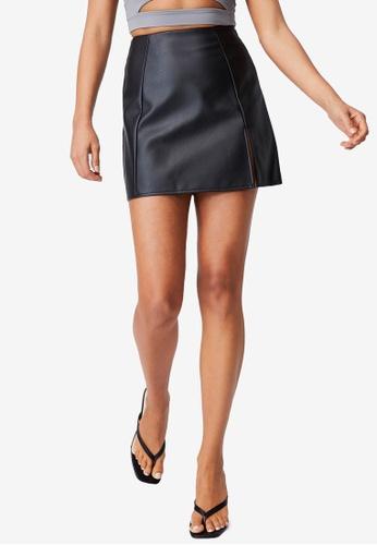 Supre black Shae Faux Leather Split Mini Skirt 86A13AAEE26505GS_1