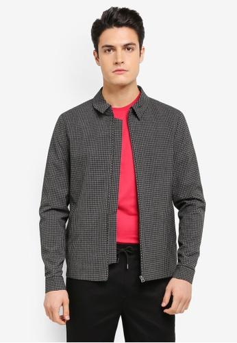 Topman 灰色 格紋立領夾克外套 TO413AA0T1IDMY_1