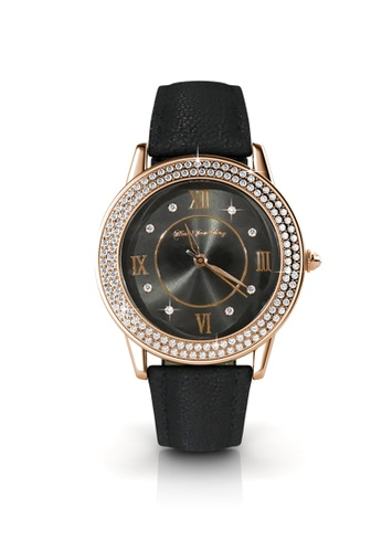 Her Jewellery black and gold Swarovski® Crystals -Dawn Leather Watch (Black) (18K Rose Gold Plated) Her Jewellery HE581AC0RE6AMY_1