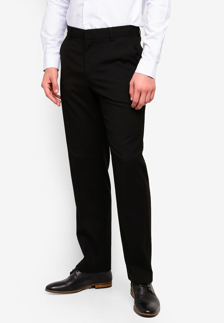 Menswear Burton Stretch Fit London Black Regular Trousers Black KwO8XxgCqA