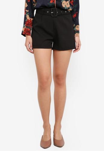 ZALORA black Belted Shorts 57125AA95E8B7BGS_1