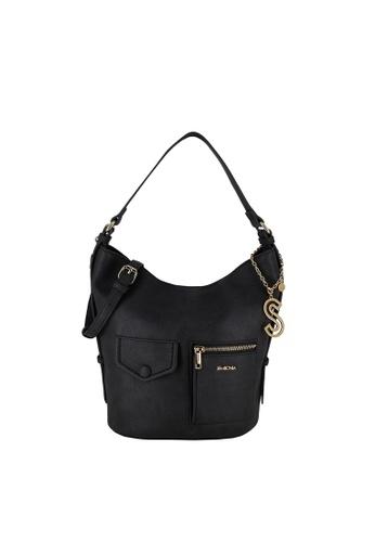 SEMBONIA black Adjustable Shoulder Strap Hobo Bag 56FBAACA71FACBGS_1