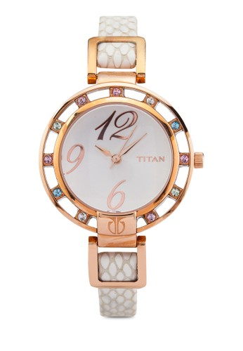 Titan P3H 9924WL01 彩晶圓框皮革錶zalora 手錶 評價, 錶類, 時尚型