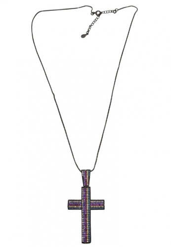 Studded Cross Pendant Necklace