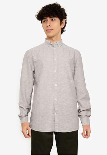 !Solid grey Long Sleeve Shirt 237B9AAB8B5E9AGS_1