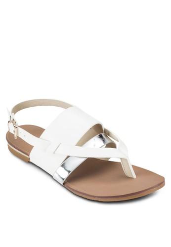 銀色帶價值zalora 心得繞踝平底涼鞋, 女鞋, 涼鞋