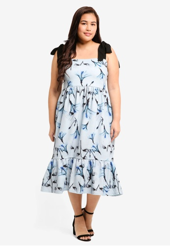 LOST INK PLUS multi Plus Size Midi Dress In X-Ray Floral Print 77E83AAB678EBBGS_1