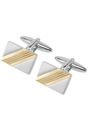 CUFF IT gold Brush Silver and Concave Gold Stripe Cufflinks CU047AC90WPHHK_1
