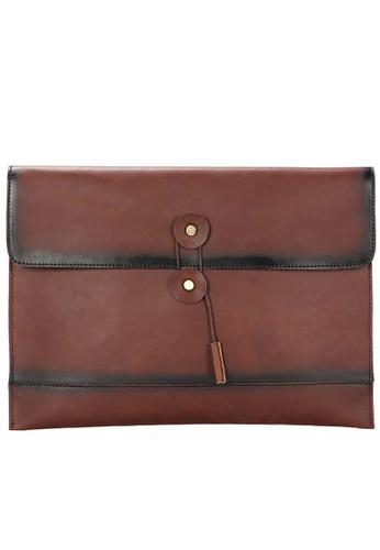 Lara brown Plain Drawstring Envelope Hand Bag - Brown 012D8ACCFD3ED0GS_1