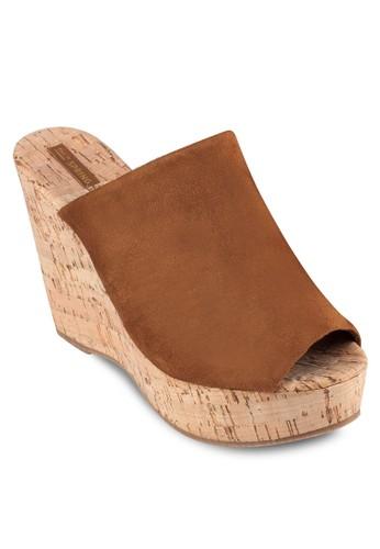 zalora時尚購物網評價Fletchera 露趾寬帶楔型涼鞋, 女鞋, 楔形涼鞋