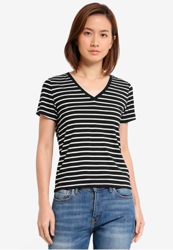 ZALORA BASICS black and multi Basic V Neck T-Shirt CEF79AAA7831E3GS_1