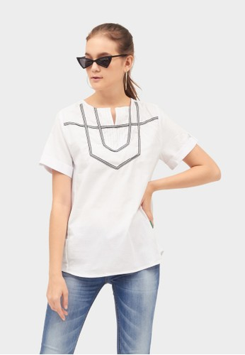 Point One white GWENETH Short Sleeve Blouse 819CAAAC7CD933GS_1